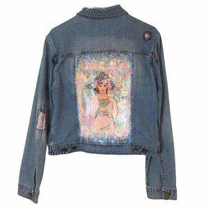 Alphonse Mucha Custom Denim Jacket Vinyl Paint XL